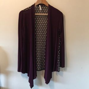 Purple cardigan with semi sheer flower design